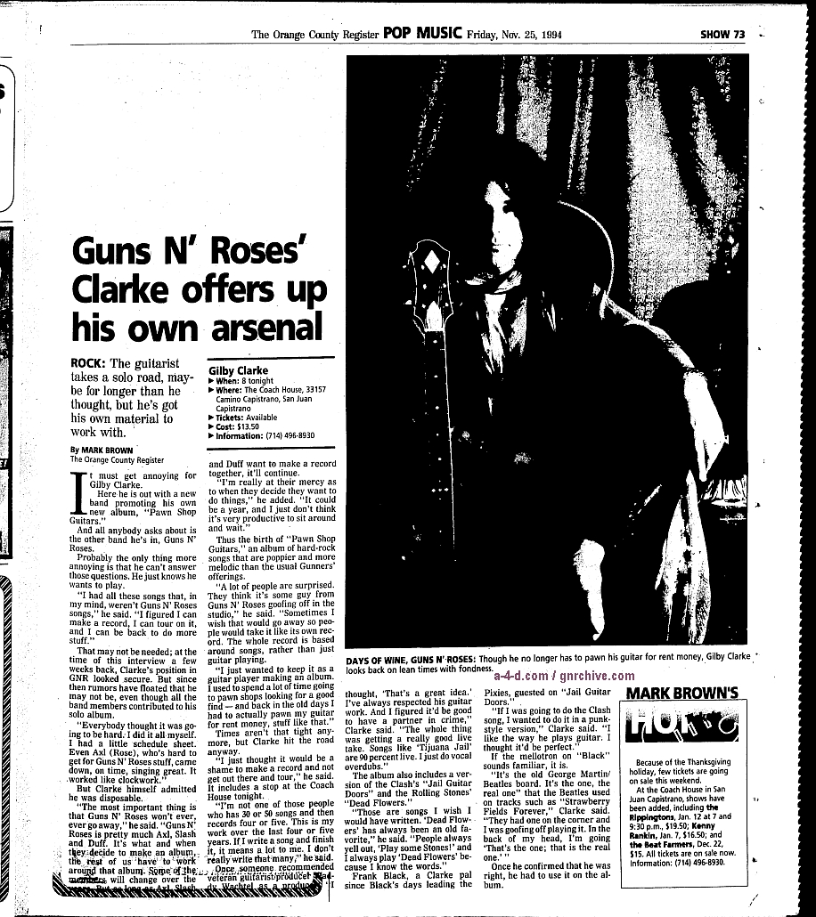 1994.11.25 - Orange County Register - Guns N' Roses' Clarke offers up his own arsenal (Gilby) 1994_121