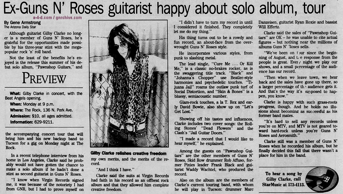 1994.11.25 - Arizona Daily Star - Ex-Guns N' Roses guitarist happy about solo album, tour (Gilby) 1994_122