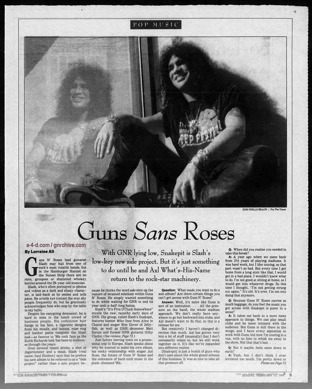 1995.02.12 - Los Angeles Times - Guns Sans Roses (Slash) 1995_021
