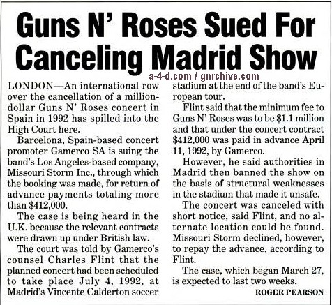 1995.04.08 - Billboard - Guns N' Roses Sued For Canceling Madrid Show 1995_025