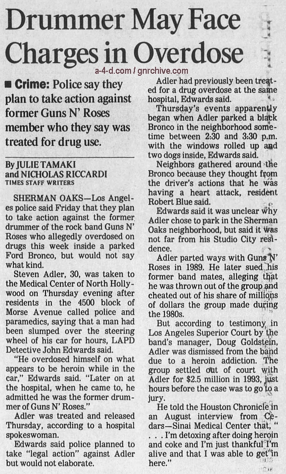 1995.04.22 - The Los Angeles Times - Drummer May Face Charges in Overdose (Steven) 1995_027