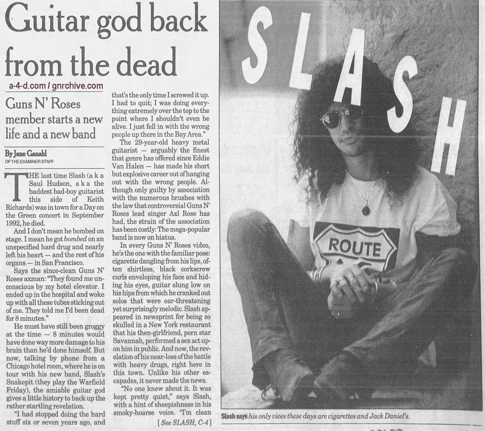 1995.05.08 - The San Francisco Examiner - Guitar God Back From The Dead (Slash) 1995_034
