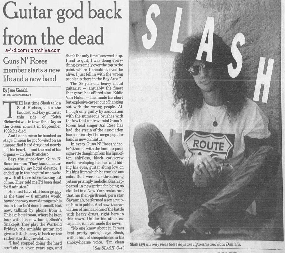 1995.05.08 - The San Francisco Examiner - Guitar God Back From The Dead (Slash) 1995_034