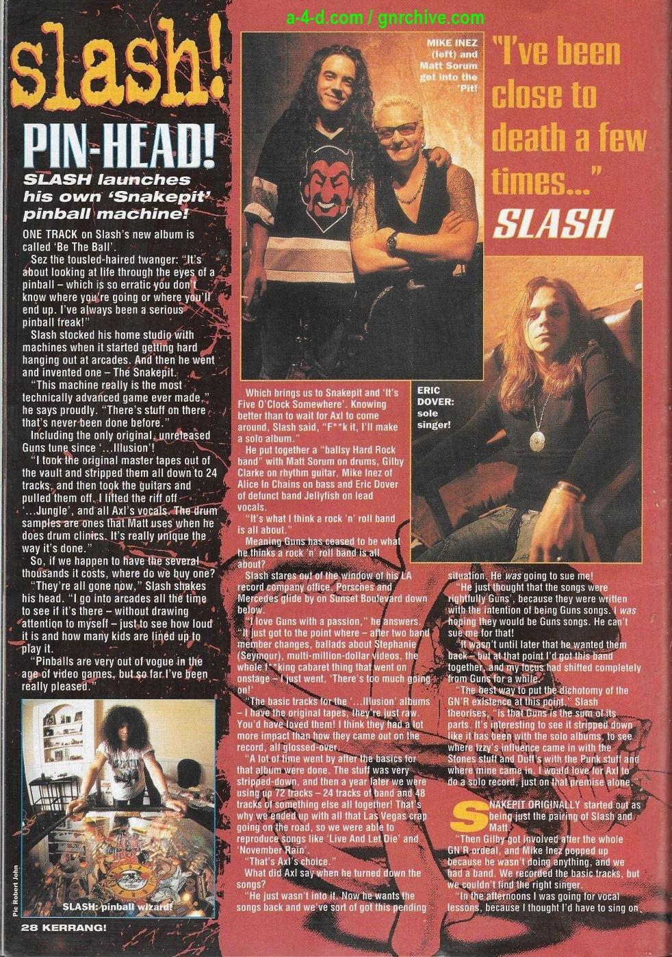 1995.02.18 - Kerrang! - Suicide! Lies! Axl! Snakes! Heavy Metal! (Slash) 1995_067