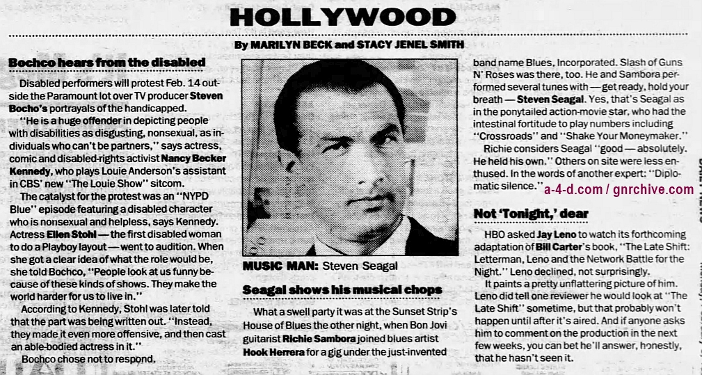 1996.02.05 - New York Daily News - Seagal shows his musical chops (Slash) 1996_013