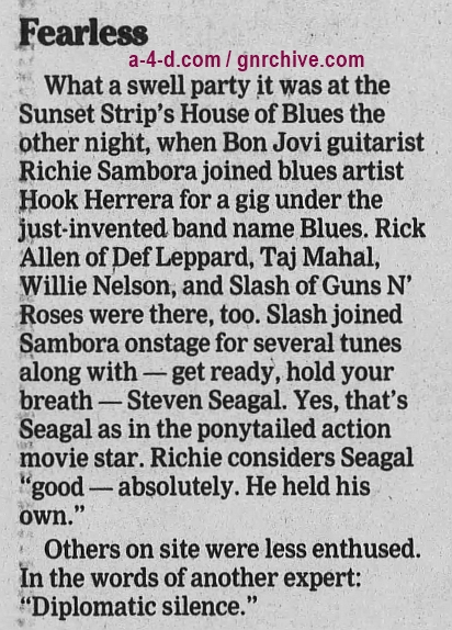 1996.02.05 - New York Daily News - Seagal shows his musical chops (Slash) 1996_014