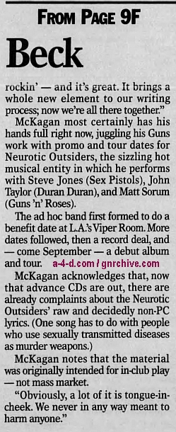 1996.07.28 - St. Cloud Times - Axl rocks on guitar (Duff) 1996_022