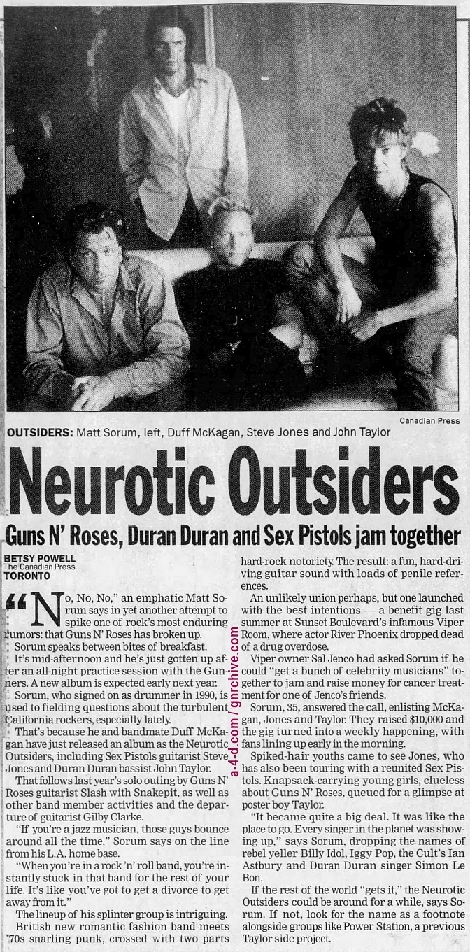 1996.09.06 - Canadian Press/Calgary Herald - Neurotic Outsiders (Matt) 1996_028