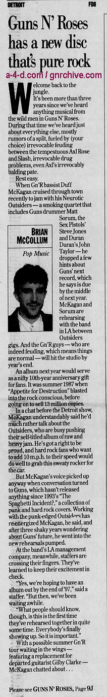 1996.09.22 - Detroit Free Press - Guns N' Roses has a new disc that's pure rock (Duff) 1996_030
