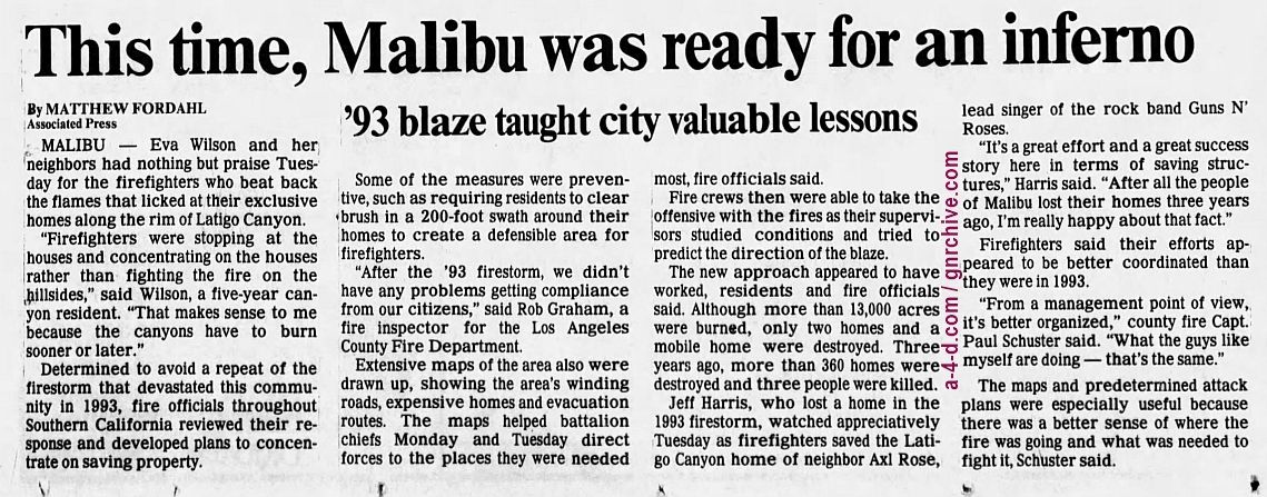 1996.10.23 - AP/The Press Democrat - This time, Malibu was ready for an inferno (Axl) 1996_114