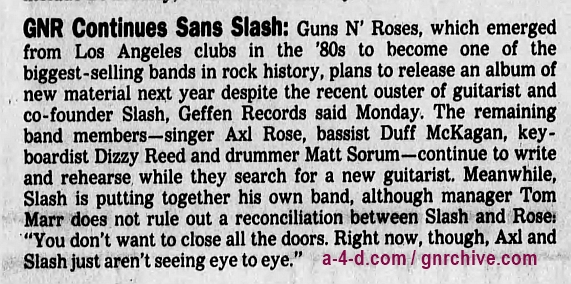 1996.11.12 - Los Angeles Times - GNR Continues Sans Slash 1996_120