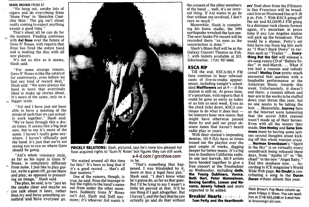 1997.01.31 - Orange County Register - GNR Limbo Gives Slash Appetite For Diversity 1997_015