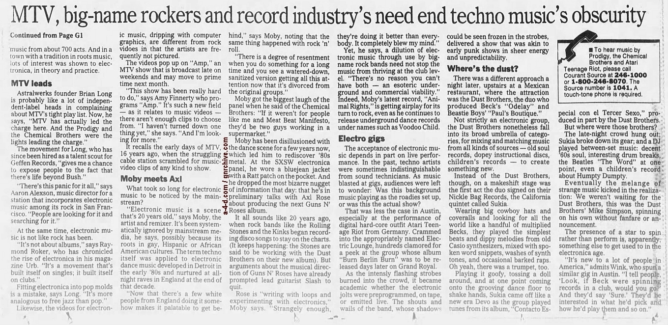 1997.03.23 - Hartford Courant - Mainstream 'Discovers' Electro Sound (Moby) [GNR related excerpt] 1997_017