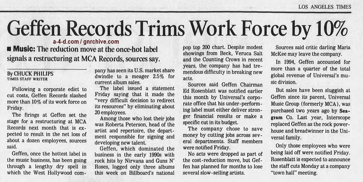 1997.05.31 - Los Angeles Times - Geffen Records Trims Work Force by 10% 1997_028