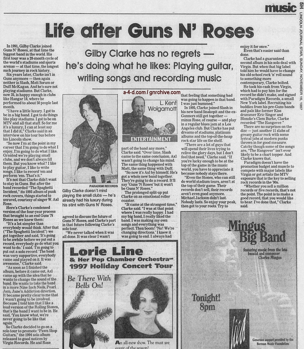 1997.11.16 - Lincoln Journal Star - Life After Guns N' Roses (Gilby) 1997_113