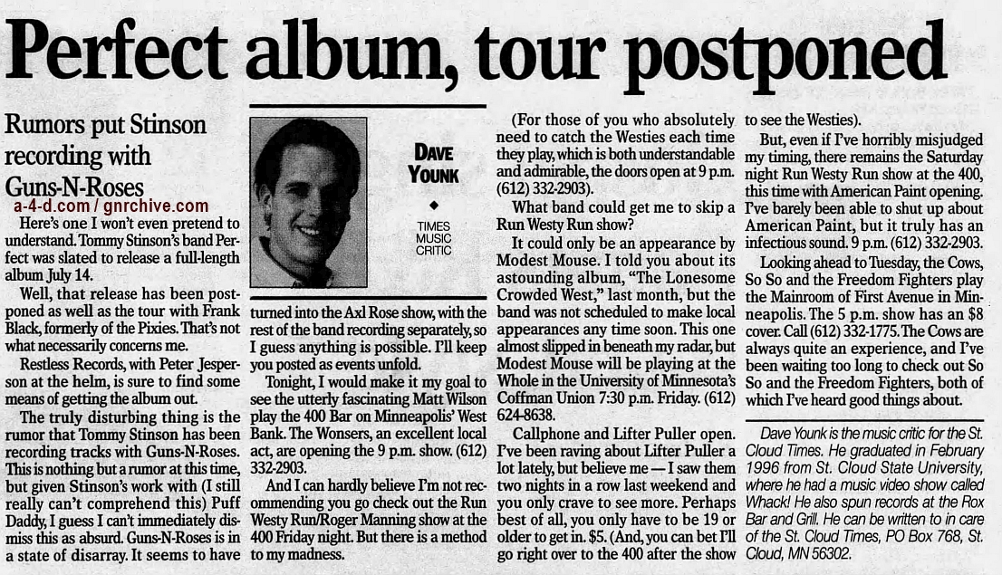 1998.04.30 - St. Cloud Times - Perfect Album, Tour Postponed: Rumors Put Stinson Recording With Guns N' Roses 1998_010