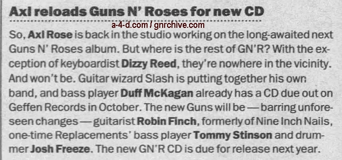 1998.07.28 - Los Angeles Daily News - Ex-Band Mates Gone, Rose Building New Guns N' Roses 1998_017