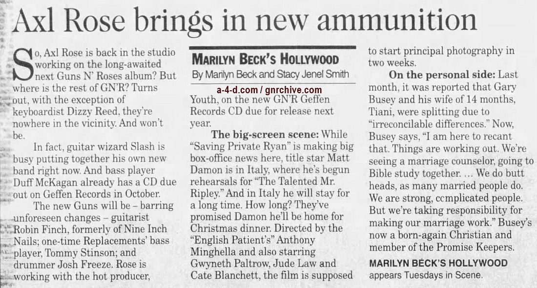 1998.07.28 - Los Angeles Daily News - Ex-Band Mates Gone, Rose Building New Guns N' Roses 1998_018