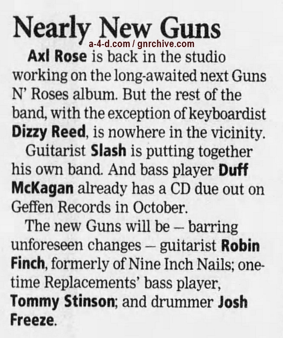 1998.07.28 - Los Angeles Daily News - Ex-Band Mates Gone, Rose Building New Guns N' Roses 1998_019