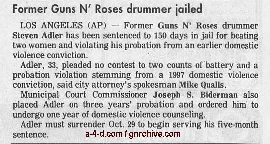 1998.09.24 - MTV News - Former Guns N' Roses Drummer Jailed On Battery Charges (Steven) 1998_021
