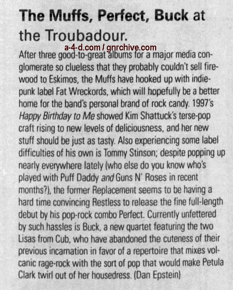 1998.06.18 - L.A. Weekly - The Muffs, Perfect, Buck at  the Troubadour (Tommy) 1998_022