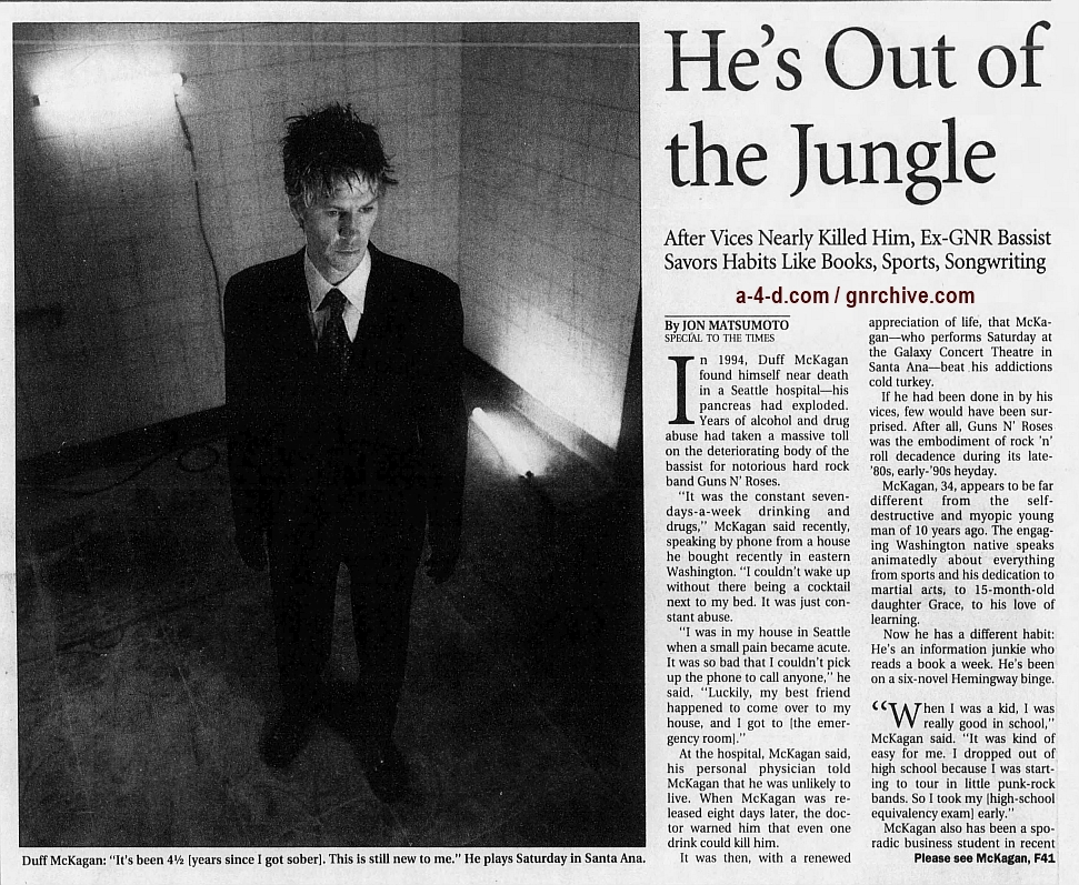 1998.11.27 - Los Angeles Times - He's Out of the Jungle (Duff) 1998_110