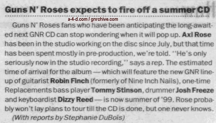1998.12.17 - New York Daily News - Guns N' Roses Expects To Fire Off A Summer CD 1998_116