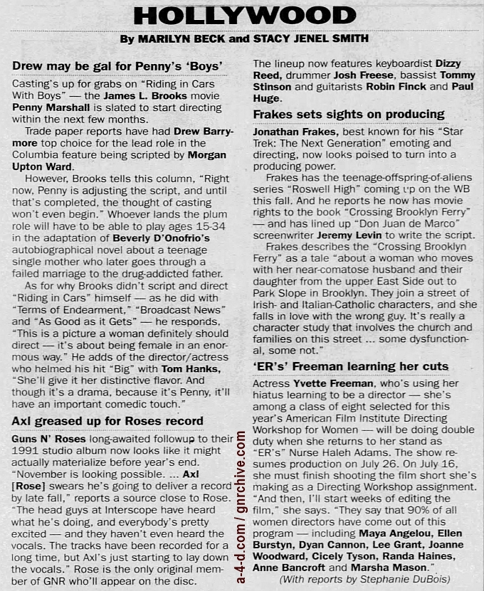 1999.06.01 - New York Daily News - Axl Greased Up For Roses Record 1999_028