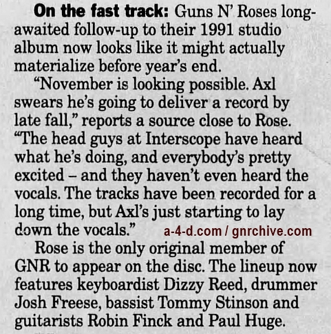 1999.06.01 - New York Daily News - Axl Greased Up For Roses Record 1999_029
