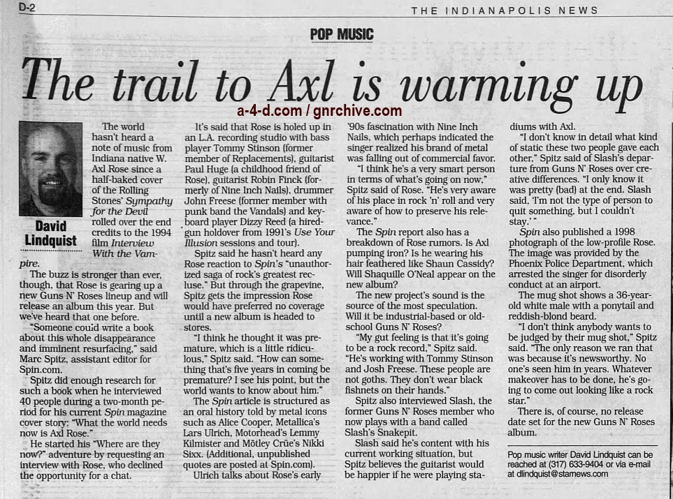 1999.06.22 - Indianapolis News - The Trail To Axl Is Warming Up 1999_030