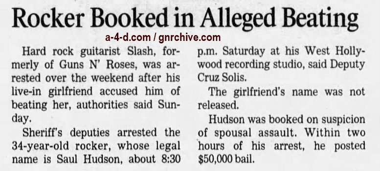 1999.07.26 - Los Angeles Times - Rocker Booked In Alleged Beating (Slash) 1999_036