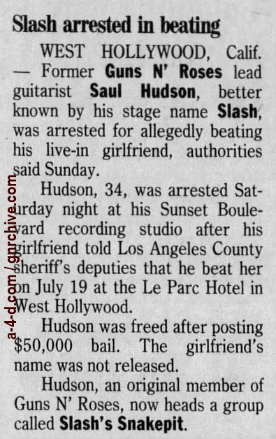 1999.07.26 - Los Angeles Times - Rocker Booked In Alleged Beating (Slash) 1999_040