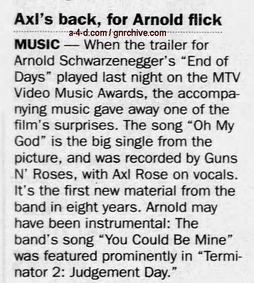 1999.09.10 - New York Daily News - Axl's Back, For Arnold Flick 1999_042