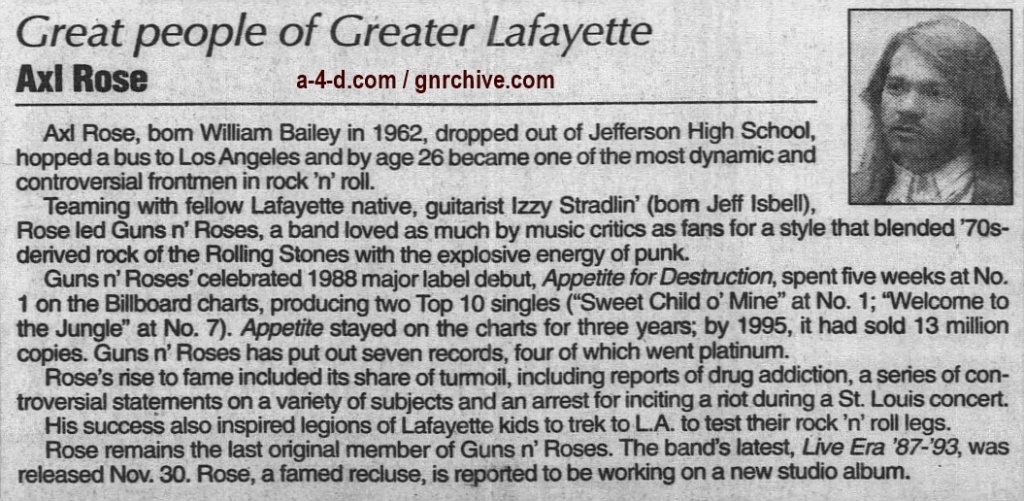 1999.12.22 - Journal and Courier - Great People Of Greater Lafayette: Axl Rose 1999_112