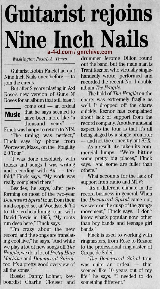 2000.05.04 - Hartford Courant - Nine Inch Nails' Fragile Tour Hits Hartford (Robin) 2000_029