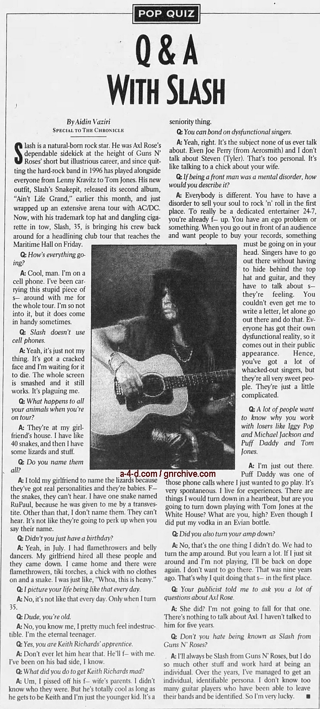 2000.10.15 - The San Francisco Examiner & Chronicle - Q&A With Slash 2000_110
