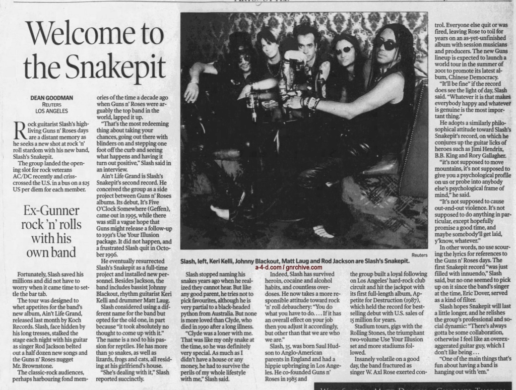 2000.11.02 - Reuters/Calgary Herald - Welcome To The Snakepit (Slash) 2000_114