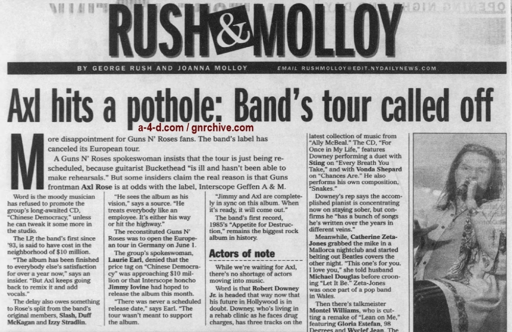 2001.05.11 - New York Daily News - Axl Hits A Pothole: Band's Tour Called Off 2001_038