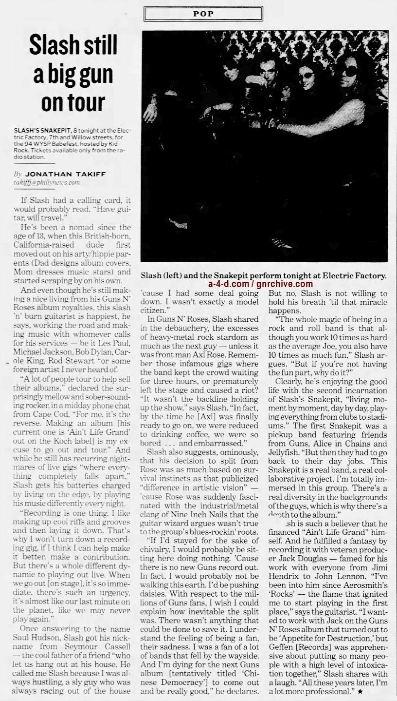2001.06.21 - Philadelphia Daily News - Slash Still A Big Gun On Tour 2001_039
