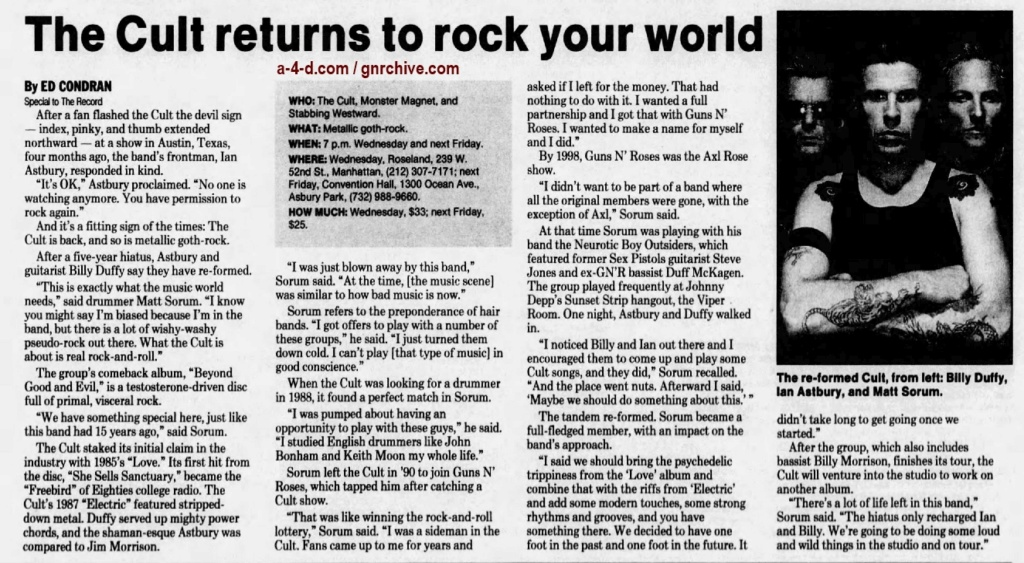 2001.07.06 - The Record - The Cult Returns To Rock Your World (Matt) 2001_045