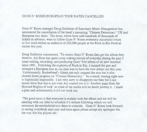 2001.11.08 - Press release - Guns N' Roses European Tour Dates Cancelled (Doug Goldstein) 2001_110