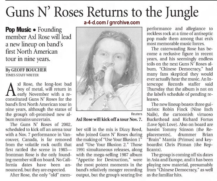 2002.09.27 - Los Angeles Times - Guns N' Roses Returns to the Jungle 2002_042