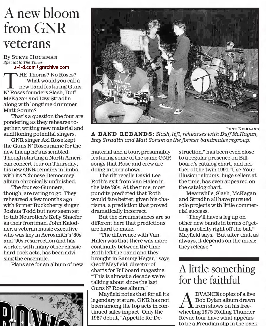 2002.11.03 - Los Angeles Times - A New Bloom From GN'R Veterans 2002_111