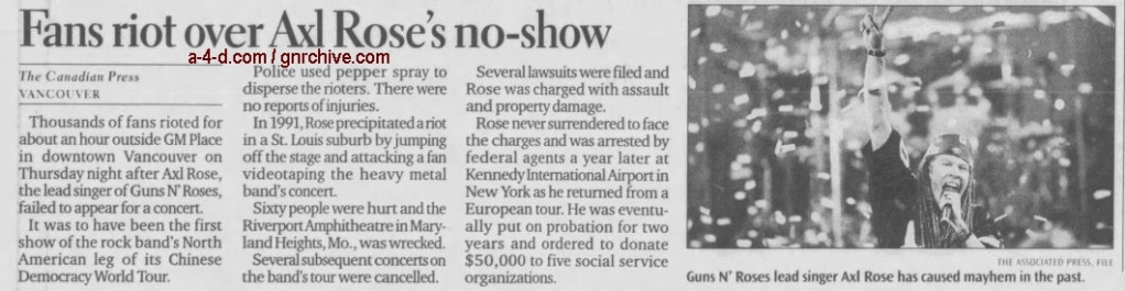 2002.11.08 - Canadian Press/Edmonton Journal - Fans riot over Axl Rose's no-show 2002_115