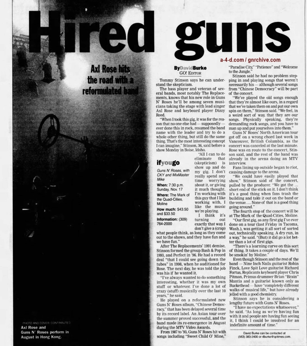 2002.11.14 - Quad City Times - Hired Guns (Tommy) 2002_140