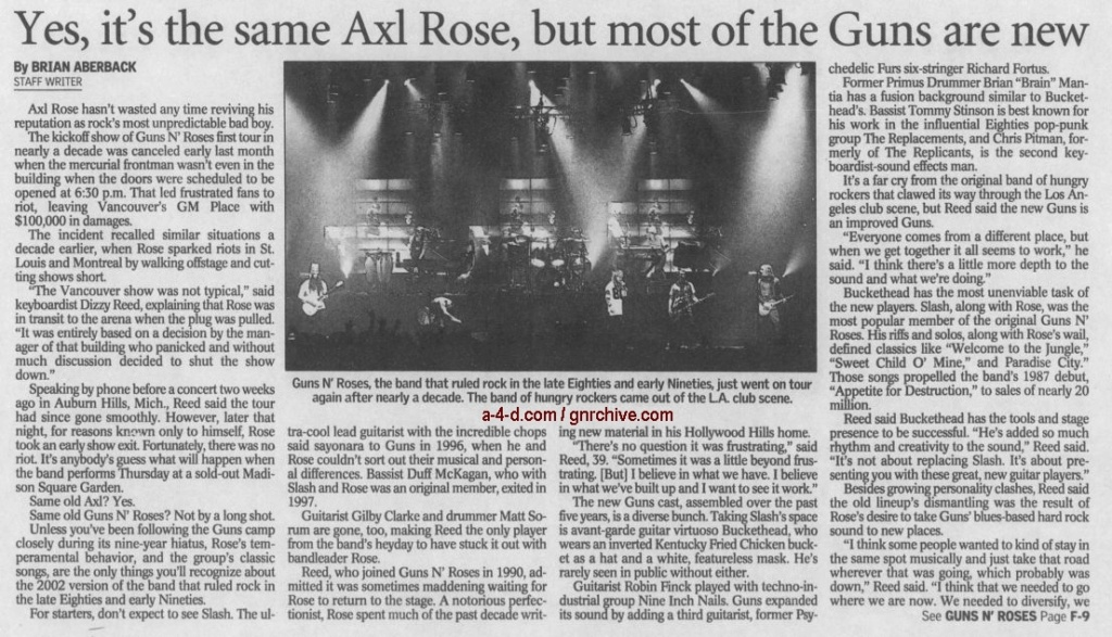 2002.12.04 - The Record - Yes, It's The Same Axl Rose, But Most Of The Guns Are New (Dizzy) 2002_174