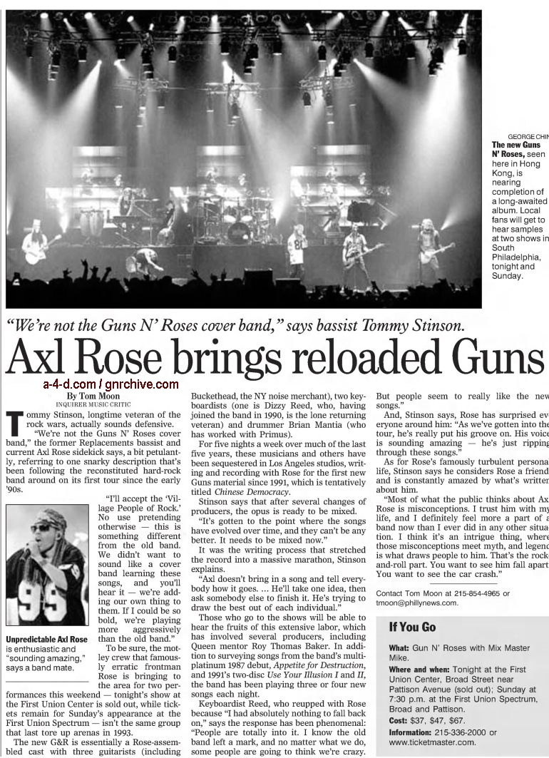 2002.12.06 - The Philadelphia Inquirer - Axl Rose Brings Reloaded Guns (Tommy) 2002_175