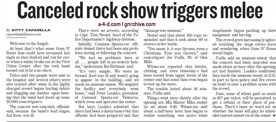 2002.12.07 - Philadelphia Daily News, AP - Canceled Rock Show Triggers Melee 2002_177