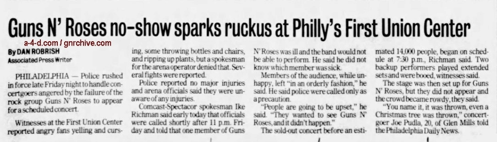 2002.12.07 - Philadelphia Daily News, AP - Canceled Rock Show Triggers Melee 2002_179
