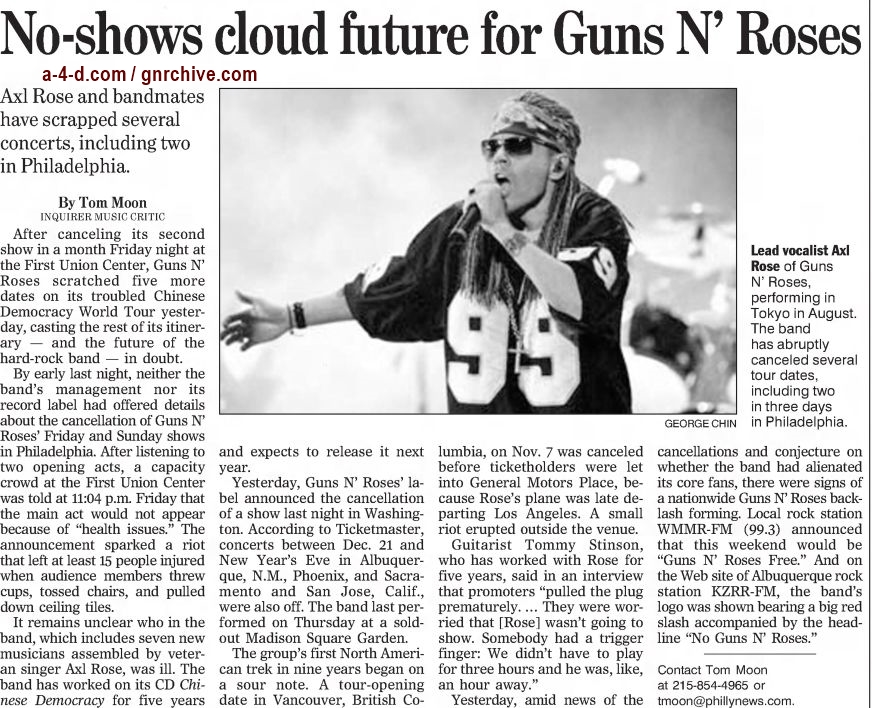 2002.12.10 - The Philadelphia Inquirer - No-shows Cloud Future for Guns N' Roses 2002_186